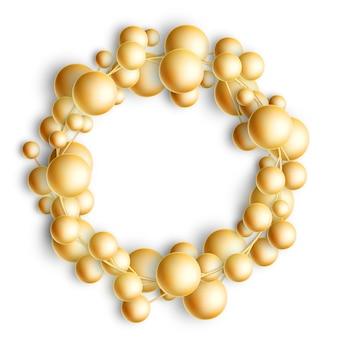 Boże narodzenie złote bombki wieniec na białym tle.