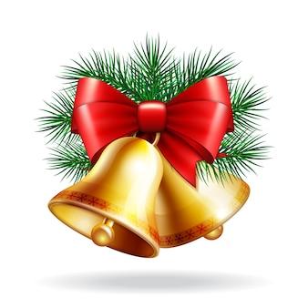 Boże narodzenie złote dzwony z czerwoną wstążką i gałęziami jodły. ilustracja