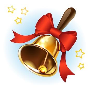 Boże narodzenie złoty dzwonek z czerwoną wstążką
