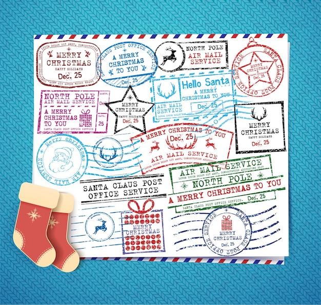 Boże narodzenie znaczki zestaw ilustracji