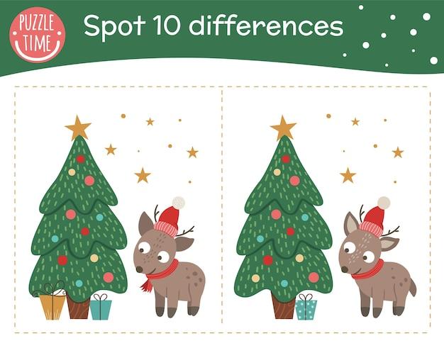 Boże narodzenie znajdź różnice gra dla dzieci. świąteczna zabawa w przedszkolu z małym jeleniem i jodłą. nowy rok puzzle ze zwierzęciem.