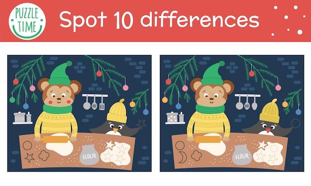 Boże narodzenie znajdź różnice gry dla dzieci. zimowa aktywność edukacyjna z zabawnymi zwierzętami wspierającymi ciasteczka. arkusz do druku z uśmiechniętymi postaciami. śliczna układanka noworoczna dla dzieci