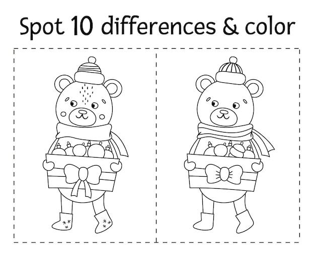 Boże narodzenie znajdź różnice i kolorową grę dla dzieci. zimowa czarno-biała działalność edukacyjna z zabawnym misiem. arkusz do druku z uśmiechniętą postacią. słodka kolorowanka nowy rok dla dzieci