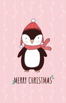 Boże narodzenie zwierząt kreskówka ładny pingwin postać z życzeniami