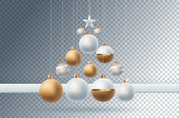 Bożenarodzeniowa dekoracja z świątecznymi przedmiotami. na przezroczystym tle