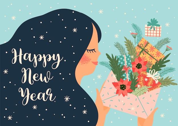 Bożenarodzeniowa i szczęśliwa nowy rok ilustracja z śliczną kobietą.