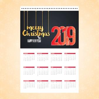 Bożenarodzeniowa kalendarza projekta karta z kreatywnie tło wektorem
