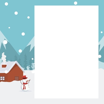Bożenarodzeniowa krajobraz karta z białym tłem pisać