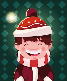 Bożenarodzeniowa kreskówka chłopiec z kapeluszem i szalikiem