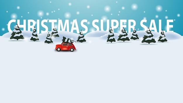 Bożenarodzeniowa super sprzedaż, dyskontowy szablon z kreskówki zimy krajobrazem z czerwonego rocznika samochodu przewożenia choinką, copyspace tło