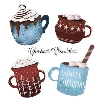 Bożenarodzeniowe czekoladowe kubki - ręka rysująca kolekcja