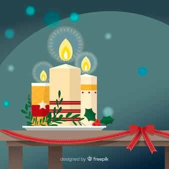 Bożenarodzeniowe świeczki na stole