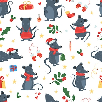 Bożenarodzeniowej myszy zimy bezszwowy deseniowy wektor.