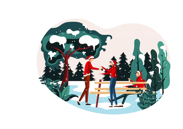 Bożenarodzeniowej sceny płaska ilustracyjna ławka