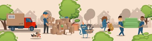 Bożenarodzeniowi potwory pomagają w odtransportowywaniu rzeczy ilustracyjnych. fantastyczny charakter z zespołem transportu mebli.