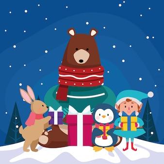 Bożenarodzeniowi śliczni zwierzęta i elf z prezentów pudełkami nad zimy nocą, kolorową, ilustracja
