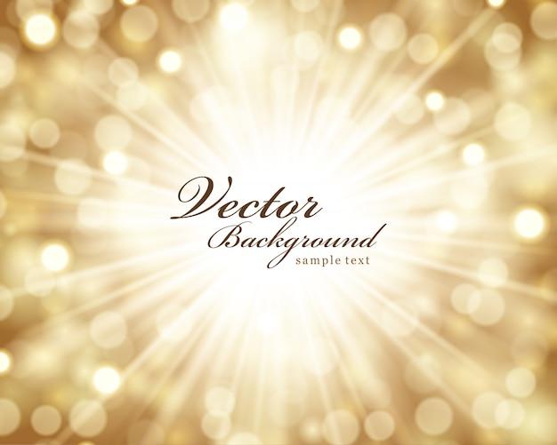 Bożenarodzeniowi złoci błyskotliwość światła jaskrawa łuna, magiczna bokeh ilustracja