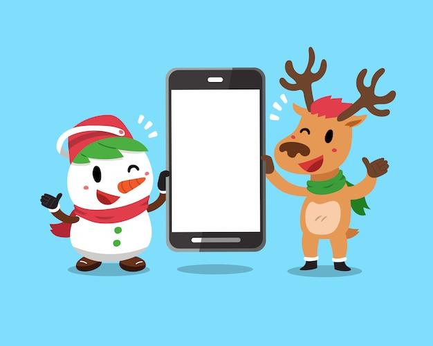 Bożenarodzeniowy bałwan i renifer trzyma dużego smartphone