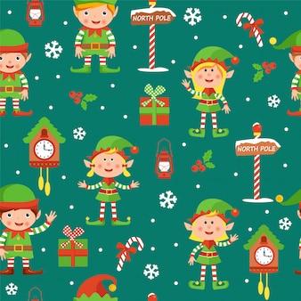Bożenarodzeniowy bezszwowy wzór z elfami chłopiec i dziewczyny, pudełka, zegary, jagody, cukierki, płatki śniegu i biegunów północnych znaki.