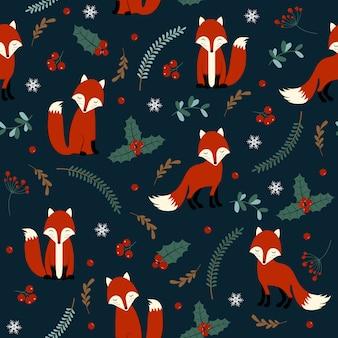 Bożenarodzeniowy bezszwowy wzór z lisem