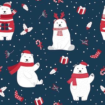 Bożenarodzeniowy bezszwowy wzór z niedźwiedziem polarnym