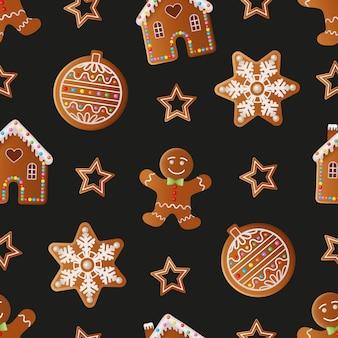 Bożenarodzeniowy bezszwowy wzór z piernikowymi ciasteczkami tekstura z bożonarodzeniowymi ciasteczkami