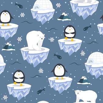 Bożenarodzeniowy bezszwowy wzór z pingwinem na kry