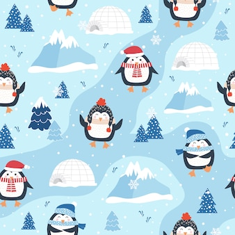 Bożenarodzeniowy bezszwowy wzór z pingwinem