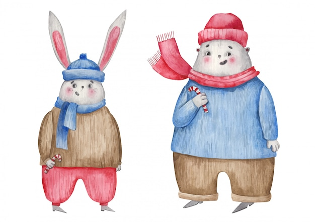 Bożenarodzeniowy charakter zając i niedźwiedź, bożenarodzeniowa cukierki akwareli ilustracja na białym tle