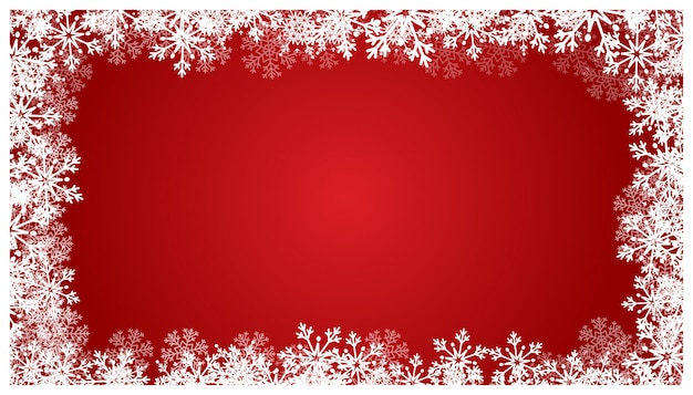 Bożenarodzeniowy czerwony tło z płatkami śniegu.