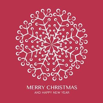 Bożenarodzeniowy i szczęśliwy nowy rok kartka z pozdrowieniami z abstrakcjonistycznym płatka śniegu mandala projektem