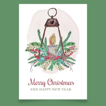 Bożenarodzeniowy kartka z pozdrowieniami z latarnią i świeczką