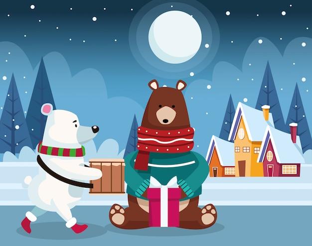 Bożenarodzeniowy niedźwiedź polarny i grizzly niedźwiedź z prezenta pudełkiem nad zimy nocą, kolorową, ilustracja