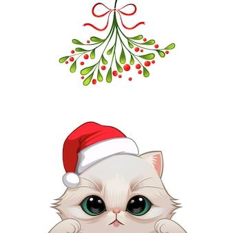 Bożenarodzeniowy portret śliczny kota charakter