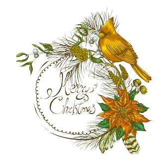 Bożenarodzeniowy rocznika kwiecisty kartka z pozdrowieniami