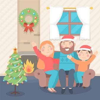 Bożenarodzeniowy rodzinny sceny pojęcie w płaskim projekcie