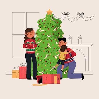 Bożenarodzeniowy rodzinny sceny pojęcie w ręce rysującej