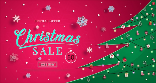 Bożenarodzeniowy sprzedaż sztandar z płatkami śniegu i robić zakupy rabatową promocyjną ilustrację lub tło