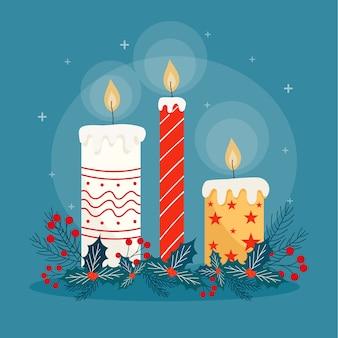 Bożenarodzeniowy świeczki tło w płaskim projekcie