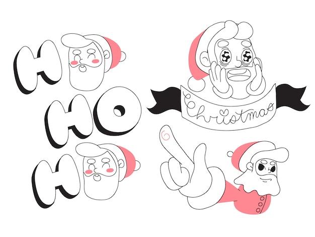 Bożenarodzeniowy święty mikołaj minimalistyczny kreskówka projekt