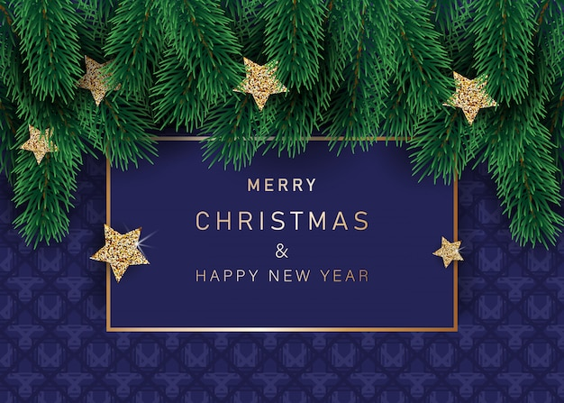 Bożenarodzeniowy tło z dekorować gwiazdami z płatkami śniegu. z ramkami śniegu na niebieskim tle. świąteczny nagłówek dla twojej witryny