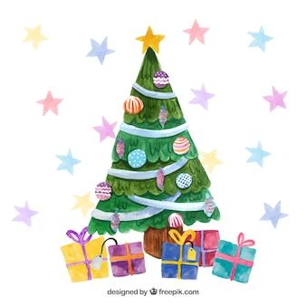 Bożenarodzeniowy tło z dekorującym drzewem i prezentami w akwareli