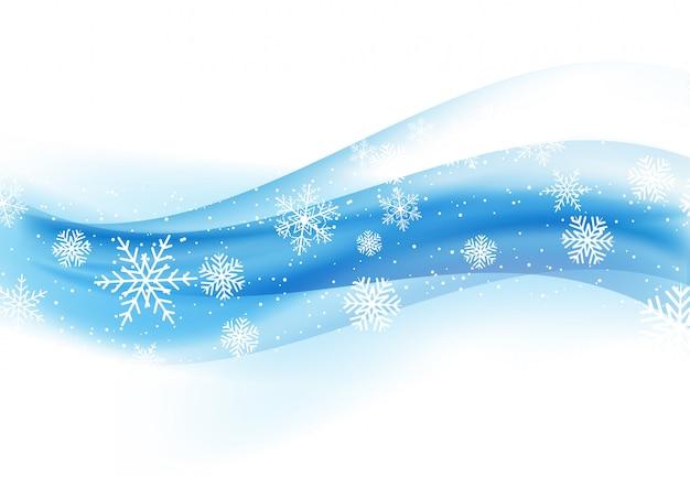 Bożenarodzeniowy tło z płatkami śniegu na błękitnym gradiencie 1110