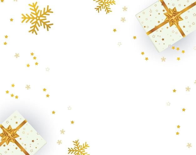 Bożenarodzeniowy tło z prezentami bożonarodzeniowymi. ilustracja wektorowa