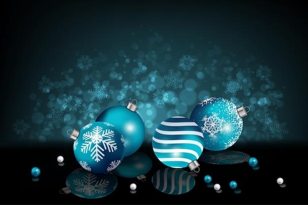 Bożenarodzeniowy tło z realistycznymi błękitnymi boże narodzenie piłkami