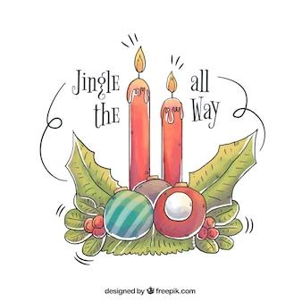 Bożenarodzeniowy tło z ręka rysującą świeczką