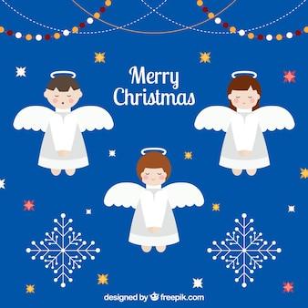 Bożenarodzeniowy tło z trzy ślicznymi aniołami