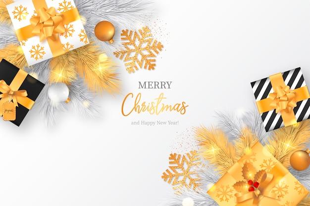 Bożenarodzeniowy tło z złotymi prezentami i dekoracją
