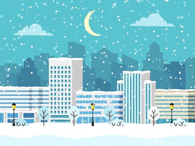 Bożenarodzeniowy zimy miasta wektoru krajobraz z budynkiem