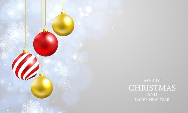 Bożonarodzeniowe światła bokeh tło z partyjnym plakatem